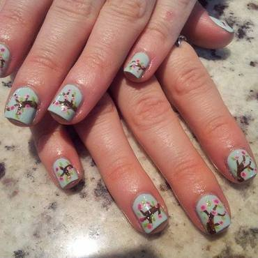 Flowers and trees nail art by Michelle Mullett
