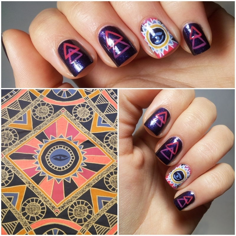 Inspired by a t-shirt nail art by Michelle Mullett