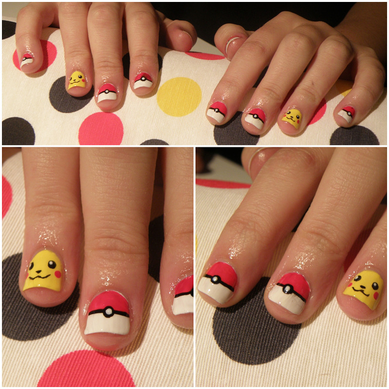 Pikachu's nails nail art by Michelle Mullett