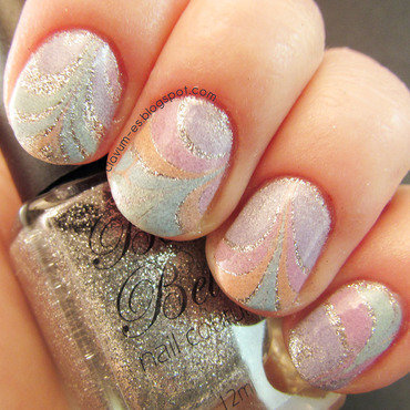 Water Marble and Sparkles nail art by Melissa (Clavum Es)