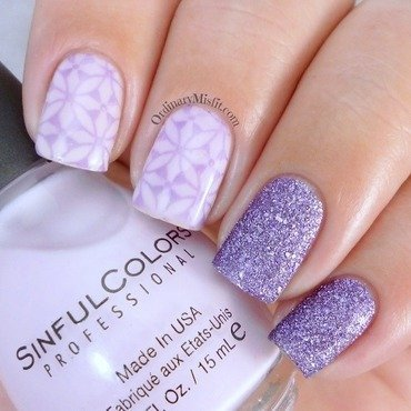 Lilac stamp sandwich nail art by Michelle