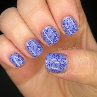 Delicate stamping nail art by Agni