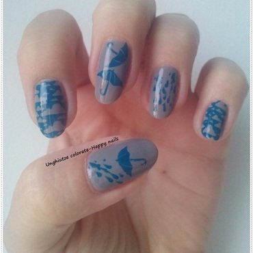 Rainy Day nail art by Oana  Alexandru