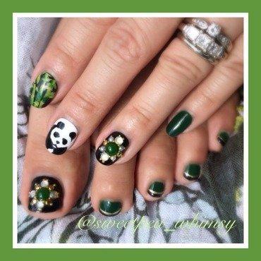 Emerald Panda Mani/Pedi (Stripes Added) nail art by SweetPea_Whimsy