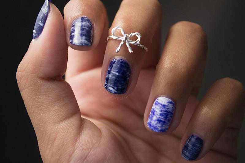 Blue Marble nail art by Ayaka Shiroyama