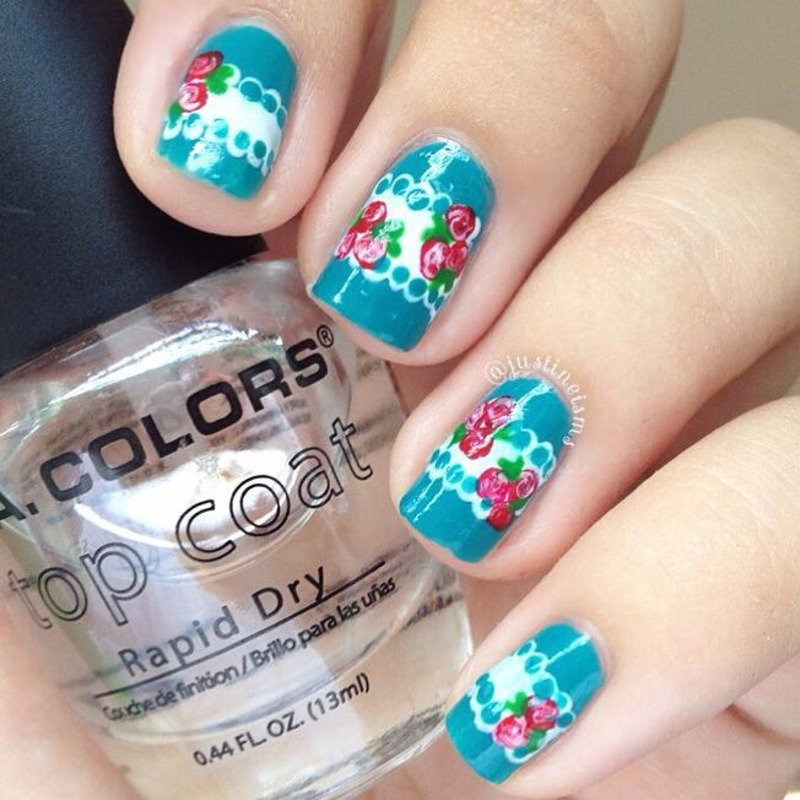 Lace and Roses  nail art by ℐustine
