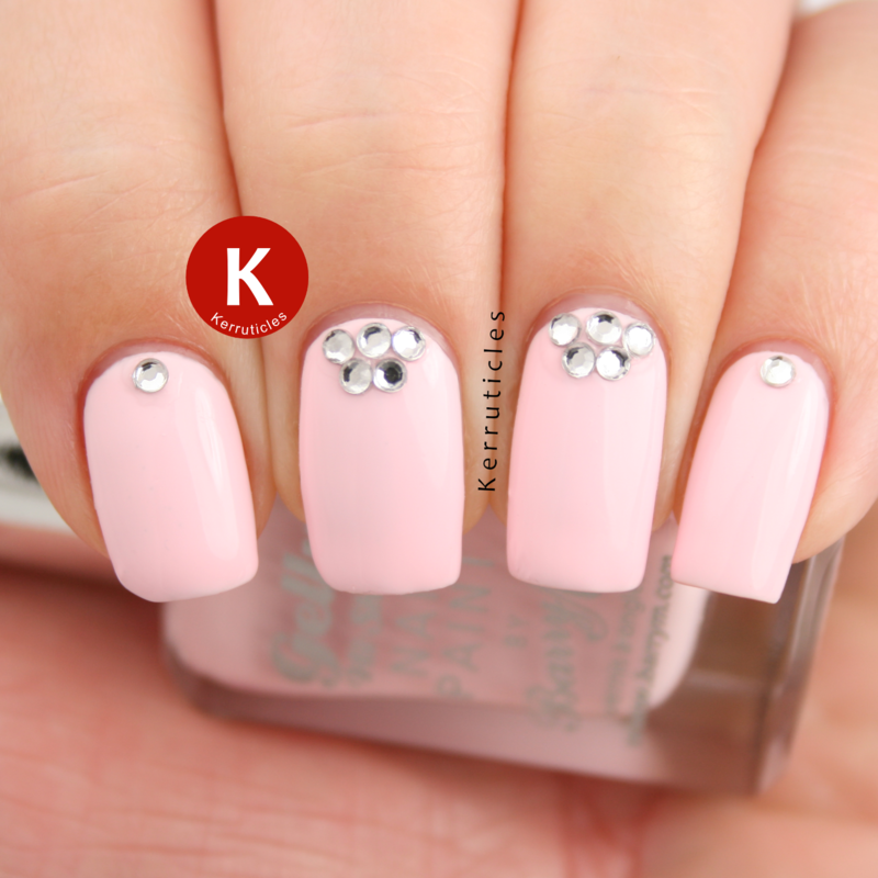 Baby pink with rhinestones nail art by Claire Kerr