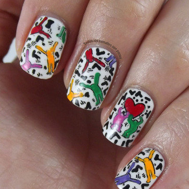 Keith Haring nail art by Maria