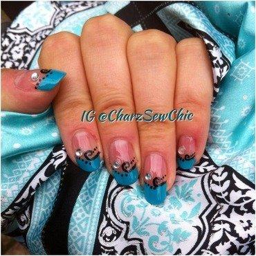 Turquoise swirls nail art by Charlotte Speller