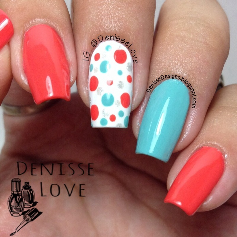 Bright dotticure nail art by Denisse Love