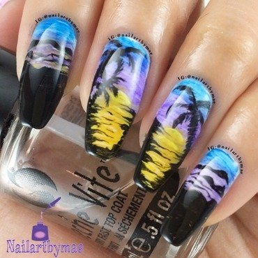Palm tree in the Mountain  nail art by Mae Lara