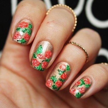Rose garden nail art by Jane