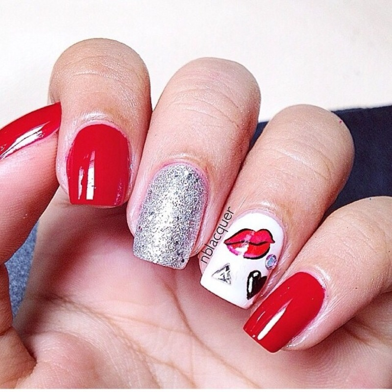 Red Mix & Match Nails nail art by Monica S.