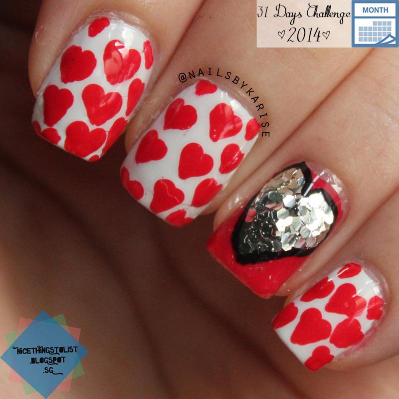 Patterned hearts nail art by Karise Tan
