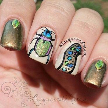 Iridescent Fiery Beetle nail art by Jennifer Collins