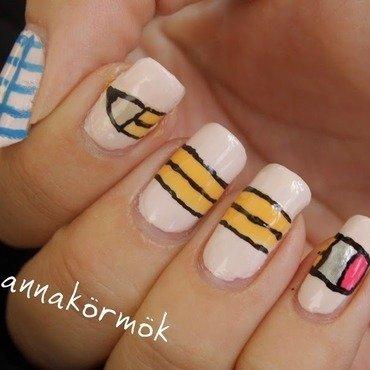 back to school nail art nail art by Marianna Kovács