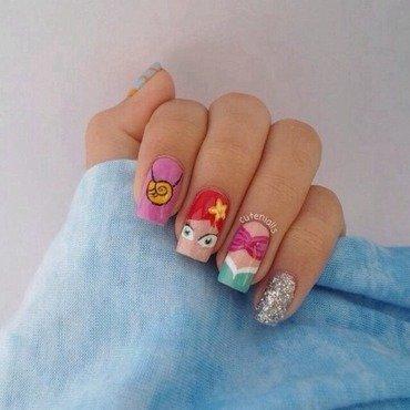 Little Mermaid Nails nail art by Cute Nialls