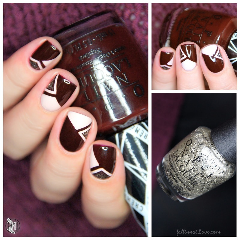 OPI triangle glitter nails nail art by Paulina