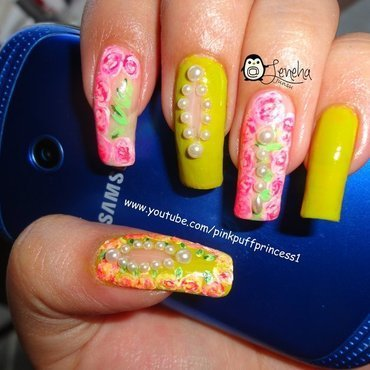 Easy Floral Cut Out Nail Art Tutorial nail art by Leneha Junsu