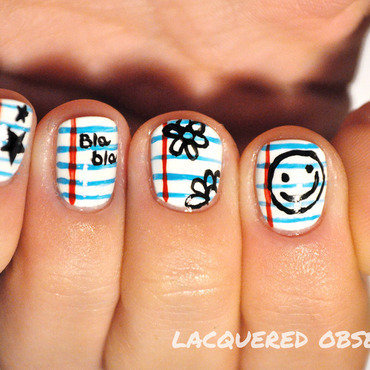 Back to school notebook doodles nail art by Lacquered Obsession