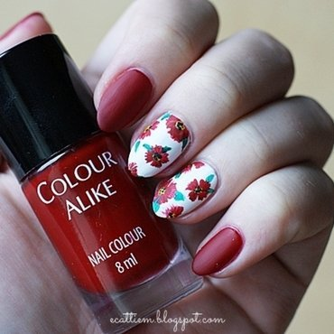 31DC2014 - Day 1: Red nail art by ecattiem