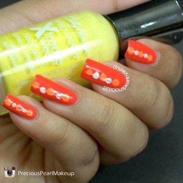 Orange Hearts nail art by Pearl P.