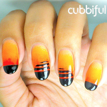31DC2014: Sunset Silhouette nail art by Cubbiful