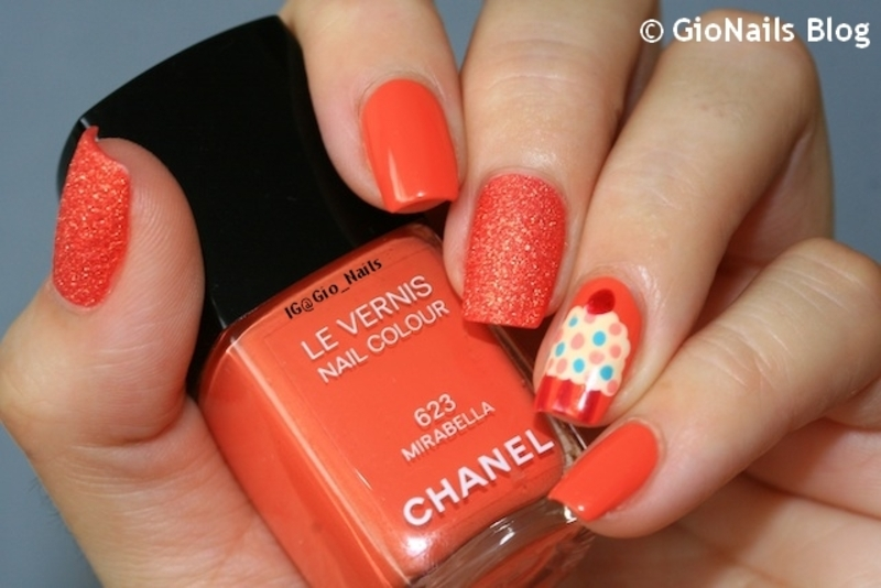 Orange Cupcake nail art by Giovanna - GioNails