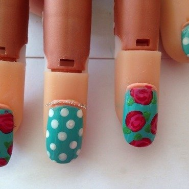 Dots and roses nail art by Kayleigh-Laura Townend