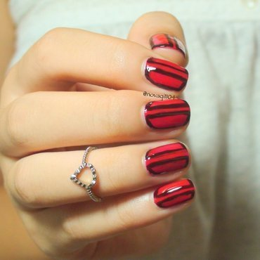 Red Half Frame Nails nail art by Nova Qi (My Rainy Day Nails)