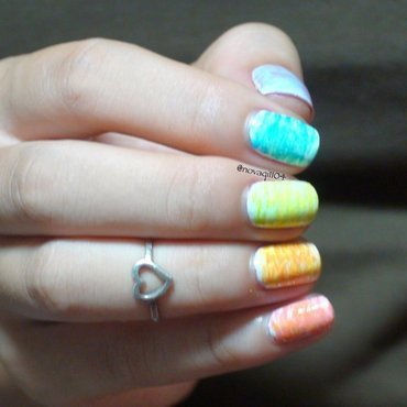 Bright Neon Striped Nails nail art by Nova Qi (My Rainy Day Nails)