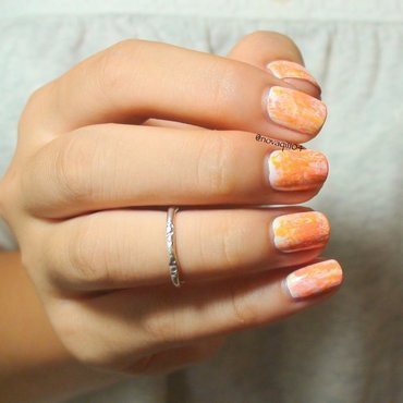 Orange Dry Brush Nail Art nail art by Nova Qi (My Rainy Day Nails)
