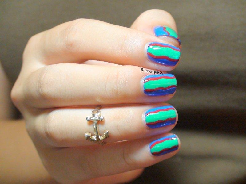 Abstract Blue Green & Red Color Block nail art by Nova Qi (My Rainy Day Nails)