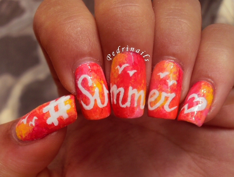 #Summer on sponged background nail art by Pedrinails