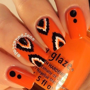 31dc2014 - Day Two - Orange nail art by PolishedJess