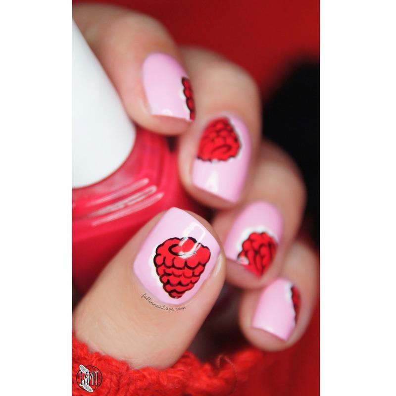 Cartoon Raspberry nails nail art by Paulina