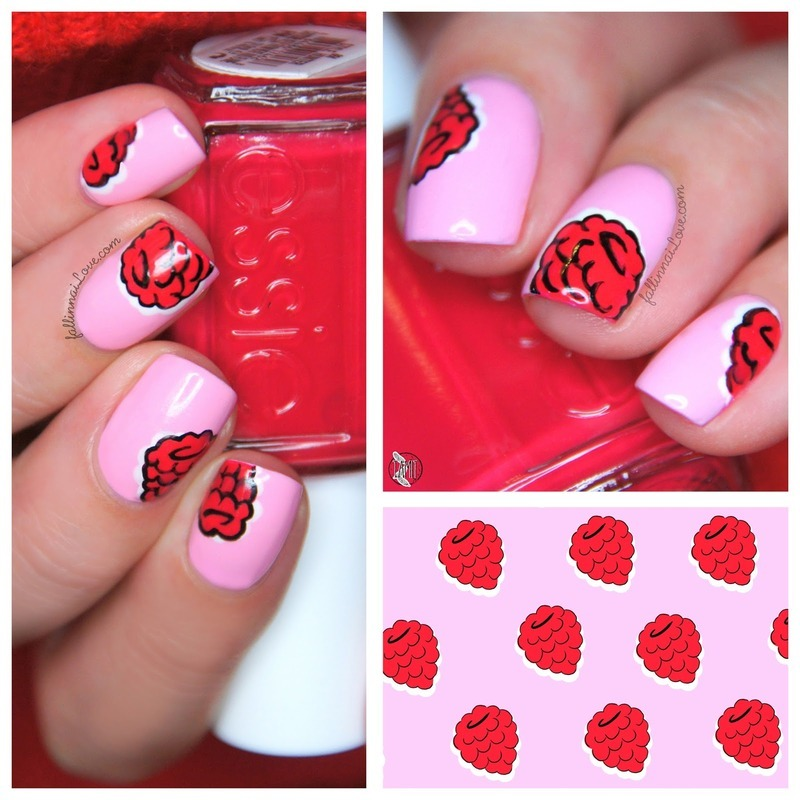 Raspberry Nails nail art by Paulina