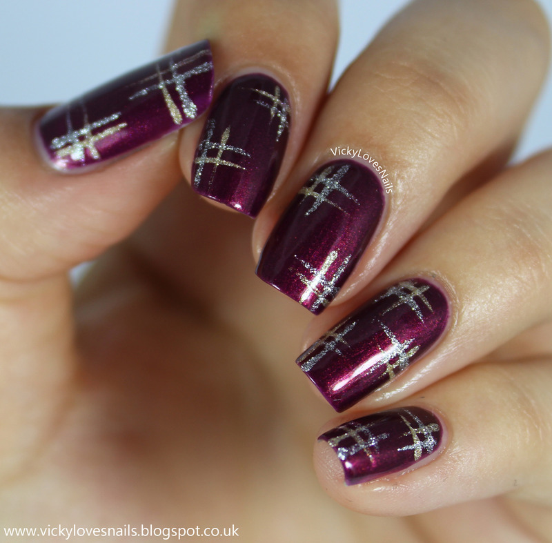 Simple Plaid Nails nail art by Vicky Standage