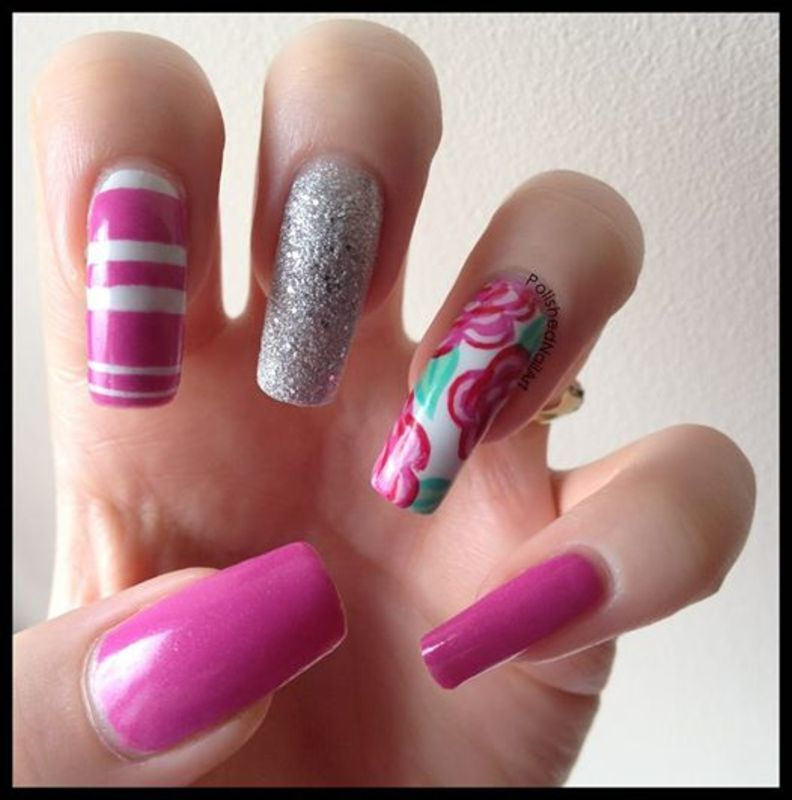 Floral with stripes  nail art by Carrie