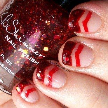 Red Glitter Chevrons nail art by Dani