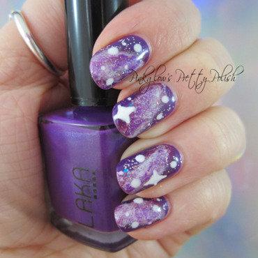 Purple Galaxy Nail Art nail art by Pinkglow