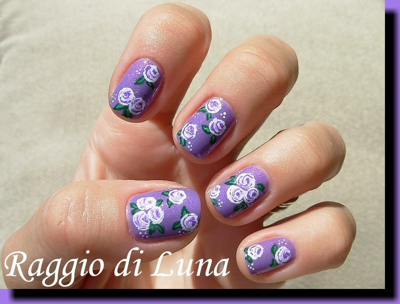 White&purple little roses on purple nail art by Tanja