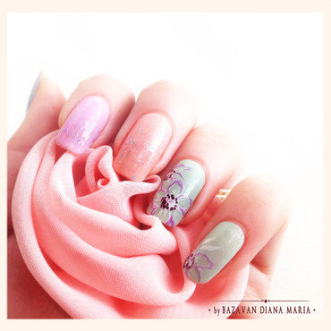 Soft colors florals nail art by Bazavan Diana