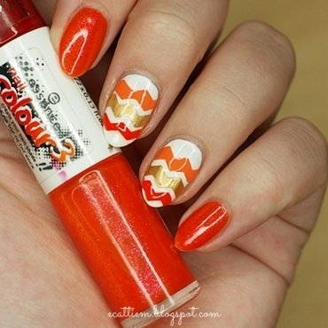 31DC2014 - Day 2: Orange nail art by ecattiem
