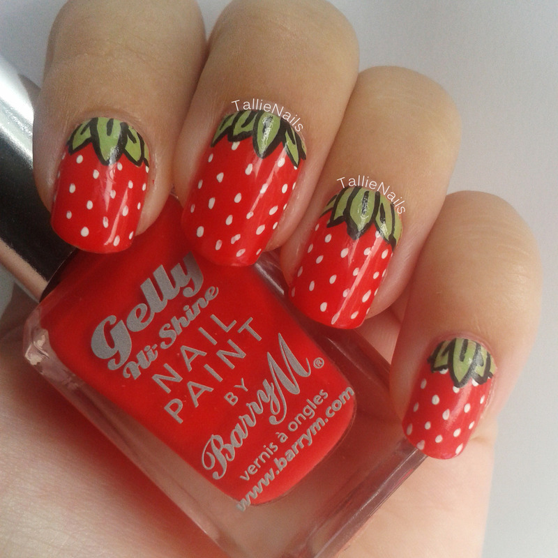 Strawberries nail art by Tallie