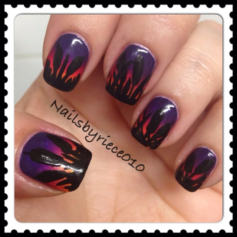 Cattails at Sunset nail art by Riece