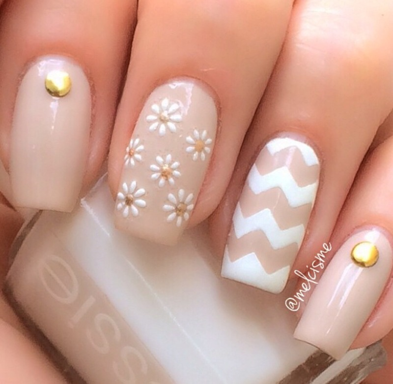 Neutral mix n matc  nail art by Melissa