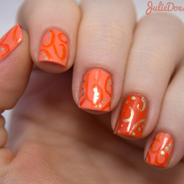 #31DC2014 Day Two Orange nail art by Julie