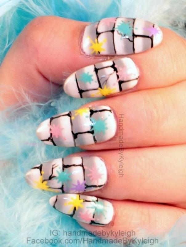 Splattered Wall nail art by  Kyleigh  'Handmade By Kyleigh'