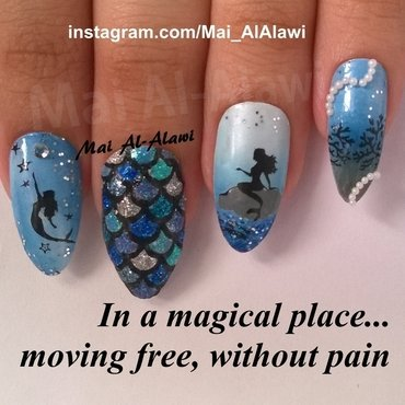 In a magical place, moving free, without pain nail art by Mai Al-Alawi